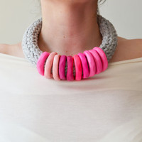 Cool Pink  Necklace, Summer Necklace, Pink Jewelry, Trendy Jewelry, Fashion necklace