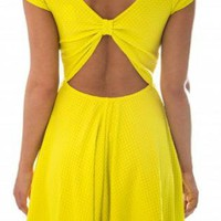 Yellow Cap Sleeve Skater Dress with Open Back