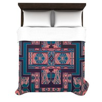 "Nika Martinez ""Golden Art Deco Blue & Coral"" Duvet Cover 