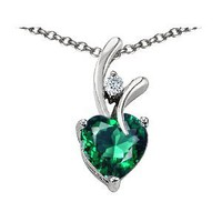 1.95 cttw Original Star K(tm) Created Heart Shaped Emerald Pendant in .925 Sterling Silver