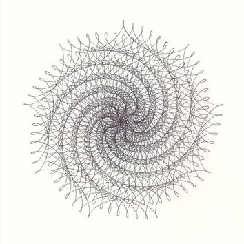 "9 Point Spiral Star Original Ink Drawing, Nautilus Pattern, Abstract Artwork geometric star, modern black & white parametric drawing 14""x17"""