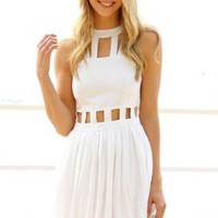 White Sleeveless Cutout Cage Dress with High Neckline
