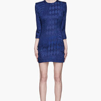 Balmain Cobalt Blue Velvet Patterned Dress for women | SSENSE