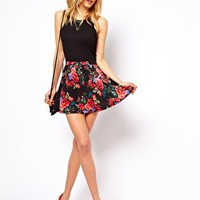 ASOS Skater Skirt in Floral Print at asos.com