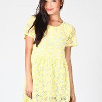 Yellow Floral Short Sleeve Mini Dress with Mesh Overlay