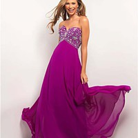 Violet Beaded Chiffon Strapless Empire Waist Prom Dress - Unique Vintage - Prom dresses, retro dresses, retro swimsuits.