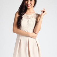 Lace Sleeveless Dress with Sweetheart Neckline & Pleat Skirt