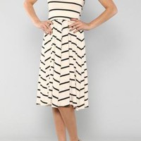 White Strapless Dress with Thin Black Stripes