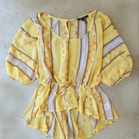 Backroads Blouse in Yellow [4123] - $24.00 : Vintage Inspired Clothing & Affordable Summer Frocks, deloom | Modern. Vintage. Crafted.