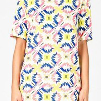 Bold Neon Print Short Sleeve Tunic Top with High Neckline