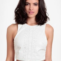 Smooth Operator Beaded Faux Leather Crop Top