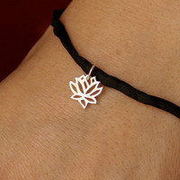Silk Bracelet with Lotus Charm