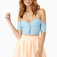 Savannah Chambray Crop Top
