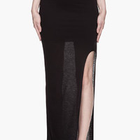 Helmut Black Semi-sheer Cut Out Maxi Skirt for women | SSENSE
