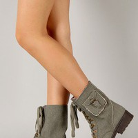Qupid Missile-13 Round Toe Lace Up Military Bootie