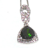 Natural Russian Chrome Diopside Trillion cut Pendant  1.85ctw