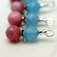 Pink and Blue Agate Gemstone Bead Dangle Charm Drop Set