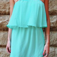 Mint Strapless Dress with Ruffle Overlay Top Detail