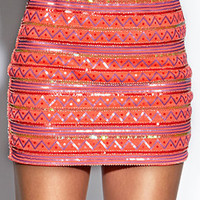 Sequined Tribal Mini-Skirt | FOREVER 21 - 2000109965