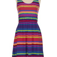 High-Low Hem Striped Tank Dress