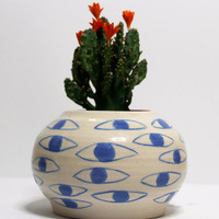 Eye Pot -- Blue and White Plant Pot