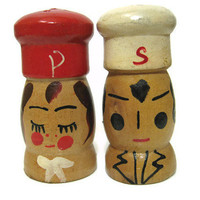 Small Vintage Wooden Mr and Mrs Salt and Pepper Shakers Japan