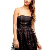 Black Sleeveless Checkered Mesh Dress