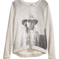 Sweatshirt with Woven Front - from H&M