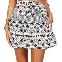 Black/White High Waist Tribal Skirt