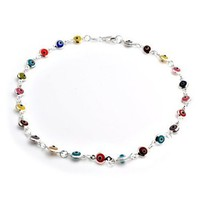 Amazon.com: Bling Jewelry Multi Color 925 Sterling Silver Evil Eye Strand Necklace: Jewelry