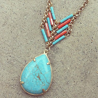 Turquoise Heishi Pear Necklace [3152] - $23.00 : Vintage Inspired Clothing & Affordable Summer Frocks, deloom | Modern. Vintage. Crafted.