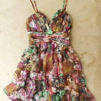 Tiered Watercolors Dress [3884] - $36.00 : Vintage Inspired Clothing & Affordable Summer Frocks, deloom | Modern. Vintage. Crafted.