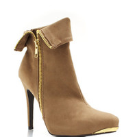 Zipped-Up-Velvet-Booties BLACK TAUPE - GoJane.com