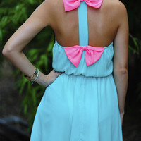 Tea For Two Bow Dress: Blue/Neon Pink | Hope's
