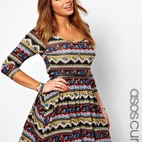 ASOS CURVE Exclusive Skater Dress In Mexican Floral