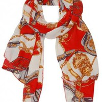 Red Parisian Chain Print Classic Scarf