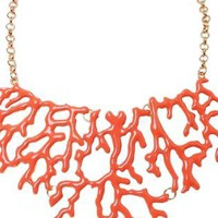 Coral Hue Statement Necklace with Gold Tone Chain