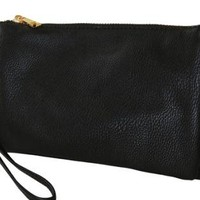 Black Faux Leather Wristlet with Cross Body Strap