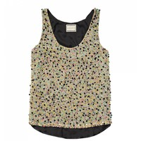 All-over embellished tank top