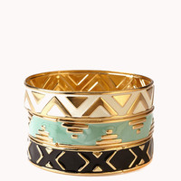 Zigzag Patterned Bangle Set | FOREVER21 - 1016833484