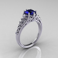 Classic French 14K White Gold 1.0 Carat Blue Sapphire Diamond Lace Ring R175-14WGDBS