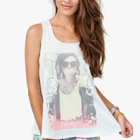 Zip Back Contrast Trim Bubblegum Photo Tank