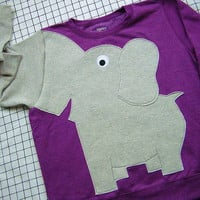 Elephant shirt Trunk sleeve sweatshirt sweater jumper LADiES S purple CLEARANCE