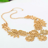 Victoria Style Gold Tone Filigree Flower Bib Necklace wholesale