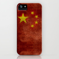 The National flag of the People's Republic of China in Vintage retro distressed texture form iPhone & iPod Case by Bruce Stanfield
