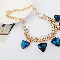 Fashion Rhinestone Triangle Blue Pendant Bib Necklace wholesale