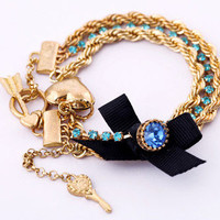 wholesale Fashion Gold Chain Bow Key Heart Charm Bracelet