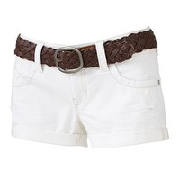 Wallflower Cuffed Denim Shortie Shorts - Juniors