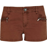 Brown cargo hot pants - casual shorts - shorts - women