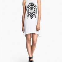 White High Low Tank Dress with Geometric Eye Print